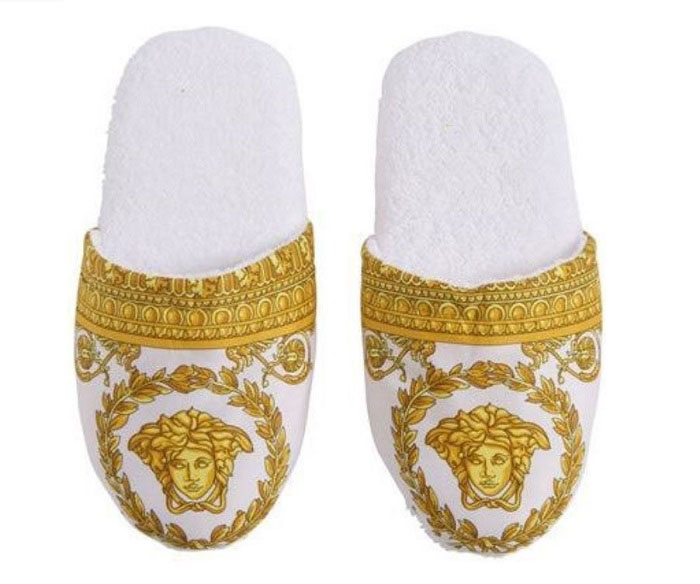 Versace baroque medusa bath slippers 1 pair size s for Versace bathroom accessories