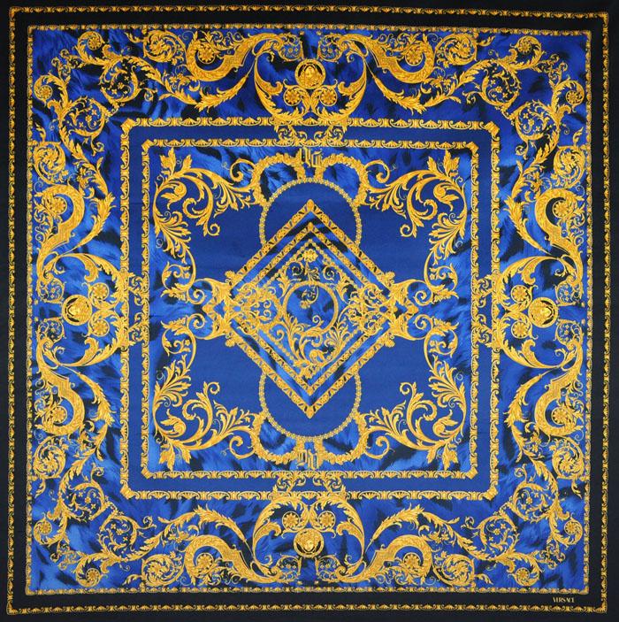 Versace Medusa Blue Tiger Velvet Fabric