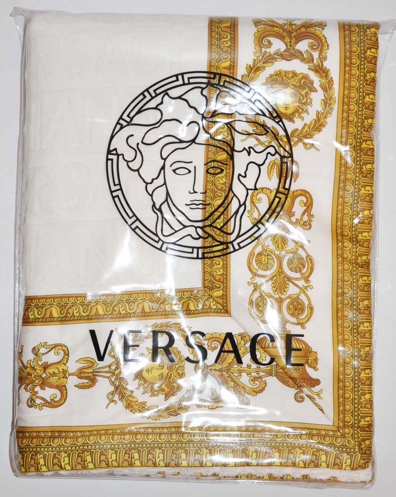 Gianni Versace Medusa Lavish Beach Bath Towel White