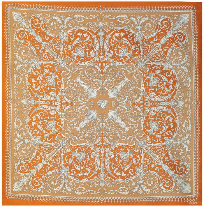 Versace Medusa Baroque Orange Silk Fabric 54 X 54 Ebay